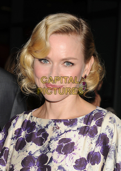 """Naomi Watts.""""The Impossible"""" Los Angeles Premiere held at Arclight Cinemas, Hollywood, California, USA..December 10th, 2012.headshot portrait white purple floral print hair curls waves retro style earrings smiling .CAP/ROT/TM.©Tony Michaels/Roth Stock/Capital Pictures"""