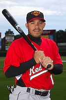 Rochester Red Wings catcher Rene Rivera #13 poses for a photo during media day at Frontier Field on April 3, 2012 in Rochester, New York.  (Mike Janes/Four Seam Images)