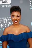 Samira Wiley attends the 23rd Annual Critics' Choice Awards at Barker Hangar in Santa Monica, Los Angeles, USA, on 11 January 2018. Photo: Hubert Boesl - NO WIRE SERVICE - Photo: Hubert Boesl/dpa /MediaPunch ***FOR USA ONLY***