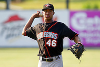 Jonathan Schoop #46 of the Delmarva Shorebirds warms up in the outfield prior to the game against the Kannapolis Intimidators at Fieldcrest Cannon Stadium on May 20, 2011 in Kannapolis, North Carolina.   Photo by Brian Westerholt / Four Seam Images