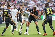 Landover, MD - August 4, 2018: Real Madrid forward Borja Mayoral (21) holds off Juventus defenders during the match between Juventus and Real Madrid at FedEx Field in Landover, MD.   (Photo by Elliott Brown/Media Images International)