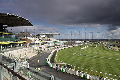 09.04.2016. Aintree, Liverpool, England. Crabbies Grand National Festival Day 3. A view of the finishing line and stands before the start of the days's action.
