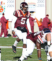 Nov 27, 2010; Charlottesville, VA, USA;  Virginia Tech Hokies quarterback Tyrod Taylor (5) during the game at Lane Stadium. Virginia Tech won 37-7. Mandatory Credit: Andrew Shurtleff