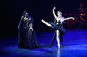 London, UK. 31.05.2016. English National Ballet presents SWAN LAKE in the round at the Royal Albert Hall. Picture shows: James Streeter (Rothbart), Alina Cojocaru (Odile), Osiel Gouneo (Prince Siegfried). Photograph © Jane Hobson.