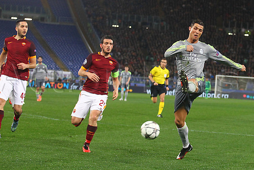 17.02.2016. Stadio Olimpico, Rome, Italy. UEFA Champions League, Round of 16 - first leg, AS Roma versus Real Madrid. CRISTIANO RONALDO shoots but his shot goes wide