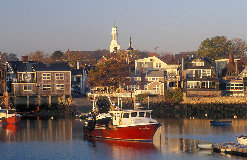 lobster boats, Rockport, Massachusetts, MA, Fishing boats docked in Rockport Harbor in Rockport in the fall.