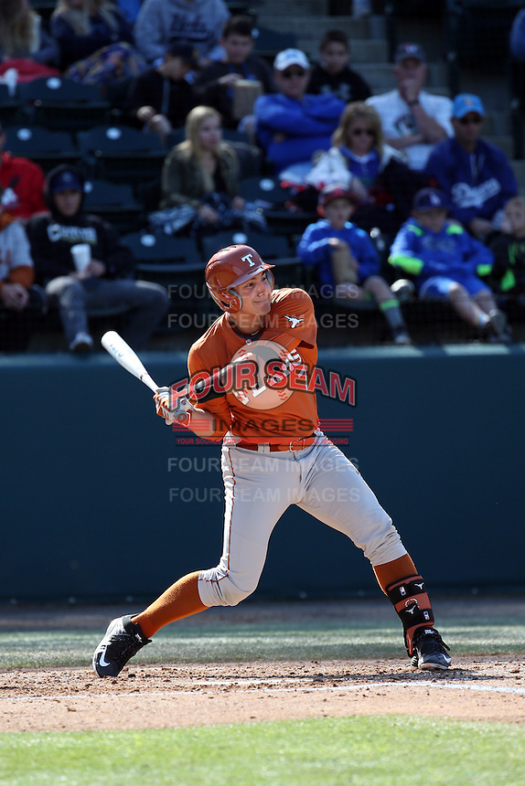 Michael Cantu (7) of the Texas Longhorns bats against the UCLA Bruins at Jackie Robinson Stadium on March 12, 2016 in Los Angeles, California. UCLA defeated Texas, 5-4. (Larry Goren/Four Seam Images)