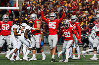 Ohio State Buckeyes place kicker Blake Haubeil (95) celebrates his 48 yard field goal in the third quarter of their game at Ohio Stadium in Columbus, Ohio on October 13, 2018. [ Brooke LaValley / Dispatch ]