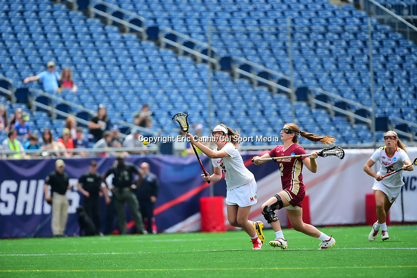 May 28, 2017: Maryland Terrapins Kali Hartshorn (16) chases the ball with Boston College Eagles Sam Apuzzo (2) in pursuit at the NCAA Division I Women's Lacrosse Championship between the Boston College Eagles and Maryland Terrapins at Gillette Stadium, in Foxborough, MA, USA. The Maryland Terrapins defeat the BC Eagles 16-13. Eric Canha/CSM