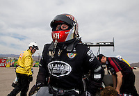 Mar 29, 2014; Las Vegas, NV, USA; NHRA top fuel driver Shawn Langdon during qualifying for the Summitracing.com Nationals at The Strip at Las Vegas Motor Speedway. Mandatory Credit: Mark J. Rebilas-USA TODAY Sports
