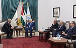 Palestinian President Mahmoud Abbas meets with Russian Ambassador to Palestine, at Abbas's headquarter, in the West Bank city of Ramallah on July 13, 2019. Photo by Thaer Ganaim