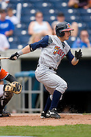 Will Rhymes #4 of the Toledo Mudhens follows through on his swing versus the Norfolk Tides at Harbor Park June 7, 2009 in Norfolk, Virginia. (Photo by Brian Westerholt / Four Seam Images)