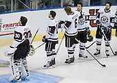 Keith Kincaid (Union - 30), Justin Pallos (Union - 11), Brock Matheson (Union - 6), Adam Presizniuk (Union - 29), Kelly Zajac (Union - 19) - The University of Minnesota-Duluth Bulldogs defeated the Union College Dutchmen 2-0 in their NCAA East Regional Semi-Final on Friday, March 25, 2011, at Webster Bank Arena at Harbor Yard in Bridgeport, Connecticut.