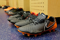 Harrison, NJ - Tuesday April 10, 2018: New York Red Bulls locker room, Nike shoes prior to leg two of a  CONCACAF Champions League semi-final match between the New York Red Bulls and C. D. Guadalajara at Red Bull Arena. C. D. Guadalajara defeated the New York Red Bulls 0-0 (1-0 on aggregate).