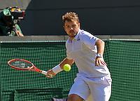 England, London, Juli 06, 2015, Tennis, Wimbledon, Stan Wawrinka (SUI) in action against David Goffin of Belgium<br /> Photo: Tennisimages/Henk Koster
