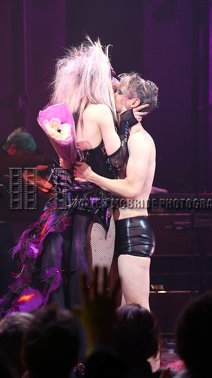 Lena Hall and John Cameron Mitchell during the Curtain Call as John debuts in Broadway's 'Hedwig and the Angry Inch' at the Belasco Theatre on January 21, 2015 in New York City.