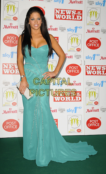 BIANCA GASCOIGNE.Children's Champions Awards 2009 at the Grosvenor House Hotel, Park Lane, London, England..March 4th 2009.full length long turquoise blue green hand on hip silver dress maxi .CAP/CAN.©Can Nguyen/Capital Pictures.