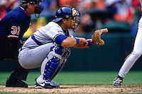 SAN FRANCISCO, CA - Mike Piazza of the Los Angeles Dodgers catches during a game against the San Francisco Giants at Candlestick Park in San Francisco, California in 1996. (Photo by Brad Mangin)