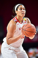 College Park, MD - NOV 16, 2016: Maryland Terrapins center Brionna Jones (42) shoots a free throw during game between Maryland and Maryland Eastern Shore Lady Hawks at XFINITY Center in College Park, MD. The Terps defeated the Lady Hawks 106-61. (Photo by Phil Peters/Media Images International)