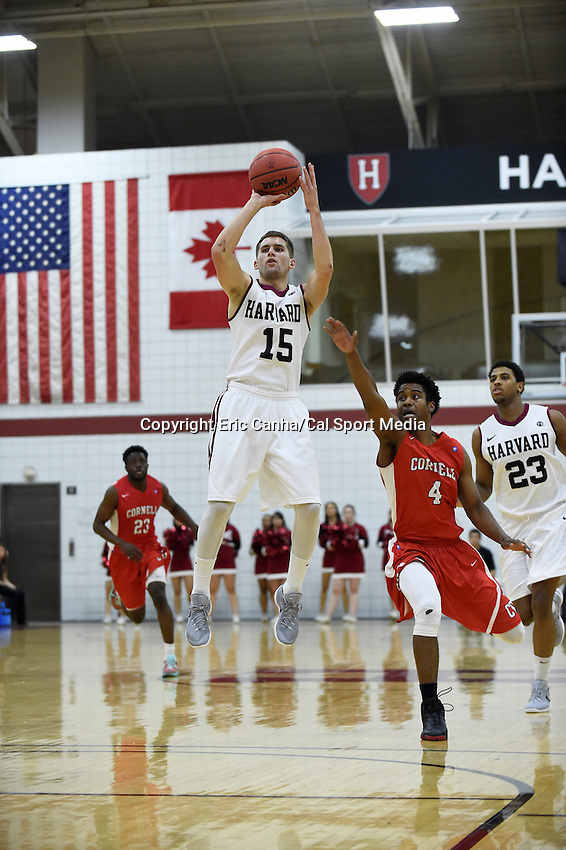 Friday, January 29, 2016: Harvard Crimson guard Corbin Miller (15) takes a shot during the NCAA basketball game between the Cornell Big Red and the Harvard Crimson held at the Lavietes Pavilion in Boston, Massachusetts. Cornell defeats Harvard 65-77. Eric Canha/CSM