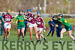 Jessica Fitzell and Rachel McCarthy Kerry in action against Amy Cully Westmeath in the 2019 Camogie League Division 2 at John Mitchells GAA grounds in Tralee, on Sunday.
