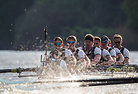 Mortlake/Chiswick, GREATER LONDON. United Kingdom. 2017 Men's Boat Race winners OUBC held over,The Championship Course, Putney to Mortlake on the River Thames.<br /> <br /> Crew: Oxford, Bow: William Warr, 2: Matthew O&rsquo;Leary &ndash; USA, 3: Oliver Cook, 4: Joshua Bugaski, 5: Olivier Siegelaar &ndash; NED, 6: Michael DiSanto &ndash; USA, 7: James Cook, Stroke: Vassilis Ragoussis, Cox: Sam Collier <br /> <br /> <br /> Sunday  02/04/2017<br /> <br /> [Mandatory Credit; Intersport Images]