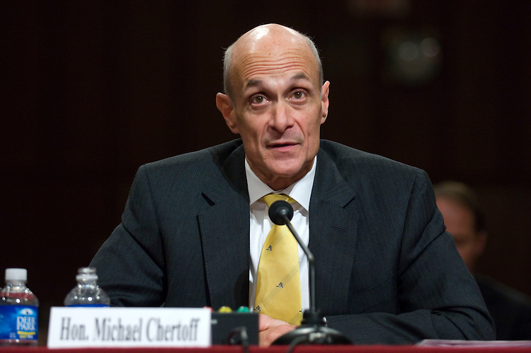 WASHINGTON, DC - April 02: Homeland Security Secretary Michael Chertoff testifies during the Senate Judiciary hearing on immigration. Chertoff faced a skeptical audience as he defended his agency's immigration policies. He outlined the department's accomplishments in increasing security along the U.S.-Mexico border, and taking steps to implement an entry-exit processing system at all U.S. ports of entry by June 2009. (Photo by Scott J. Ferrell/Congressional Quarterly)