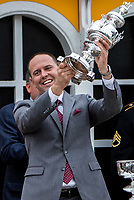 BALTIMORE, MD - MAY 20: Cloud Computing trainer Chad Brown smiles as he holds up the trophy after winning the 142nd Preakness Stakes  on Preakness Stakes Day at Pimlico Race Course on May 20, 2017 in Baltimore, Maryland. (Photo by Sue Kawczynski/Eclipse Sportswire/Getty Images)