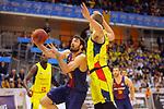 XXXVIII Lliga Nacional Catalana ACB 2017.<br /> FC Barcelona Lassa vs BC Morabanc Andorra: 89-70.<br /> Pierre Oriola vs Colton Iverson.