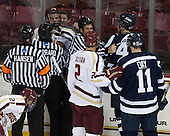 David Hansen, Steven Capraro, Steven Santini (BC - 6), Chris Millea, Colin Sullivan (BC - 2), Cory MacIntosh (StFX - 42), Josh Day (StFX - 11) - The Boston College Eagles defeated the visiting St. Francis Xavier University X-Men 8-2 in an exhibition game on Sunday, October 6, 2013, at Kelley Rink in Conte Forum in Chestnut Hill, Massachusetts.