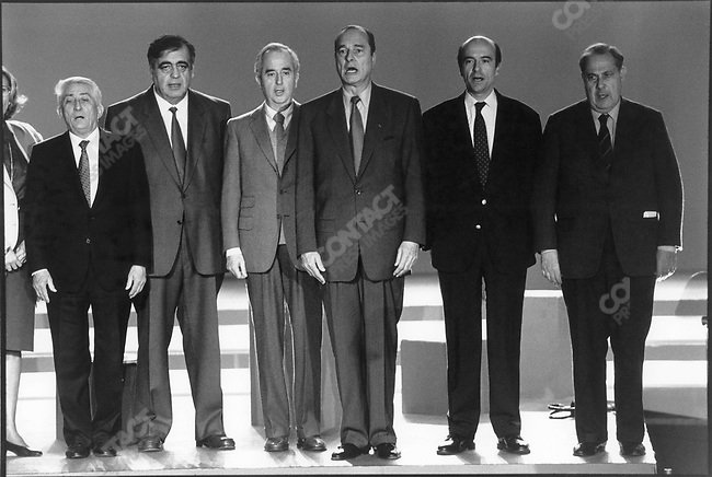 Left to right; Bernard Pons, Philippe Seguin, Edouard Balladur, Jacques Chirac, Alain Juppe, Charles Pasqua, RPR party national meeting, March 1992