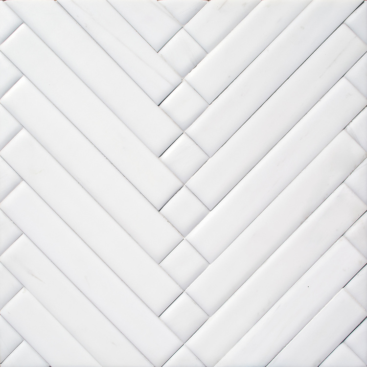 Antiquera, a hand-cut mosaic shown in venetian honed Dolomite, is part of the Miraflores Collection by Paul Schatz for New Ravenna.