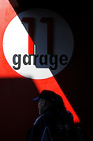 14 February, 2010, Daytona Beach, Florida USA USA.Fans stroll the garage area..©F. Peirce Williams 2010 USA.