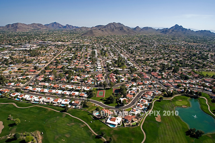 Phoenix Mountain Preserve from Stonecreek Golf Club and Mummy Mountain Golf Course south view helicoptet aerial