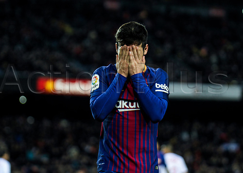 29th November 2017, Camp Nou, Barcelona, Spain; Copa Del Rey, Barcelona versus Real Murcia; Jose Arnaiz celebrating his first goal with FC Barcelona