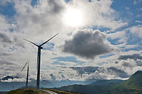 Wind mill generators on the top of Pillar mountain, Kodiak, Island, Alaska.