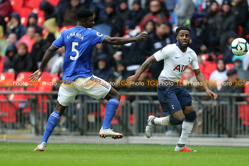 Danny Rose of Tottenham Hotspur and Bruno Ecuele Manga of Cardiff City during Tottenham Hotspur vs Cardiff City, Premier League Football at Wembley Stadium on 6th October 2018