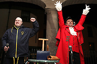 Actor and comedia Matt Lucas (L) switches on the Christmas Lights at Hay on Wye, Wales, UK.