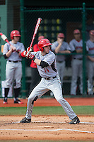 Nick Campana (14) of the Hartford Hawks at bat against the Virginia Cavaliers at The Ripken Experience on February 27, 2015 in Myrtle Beach, South Carolina.  The Cavaliers defeated the Hawks 5-1.  (Brian Westerholt/Four Seam Images)