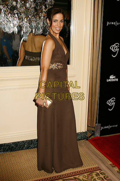 ANA ORTIZ.2007 Costume Designers Guild Awards held at the Beverly Wilshire Hotel, Beverly Hills, California, USA,.17 February 2007..full length brown halterneck dress.CAP/ADM/RE.©Russ Elliot/AdMedia/Capital Pictures.
