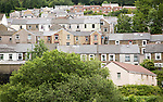 Terraced housing on hillside, Abertillerry, Blaenau Gwent, South Wales, UK
