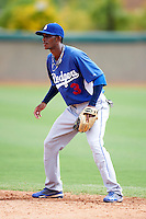 Los Angeles Dodgers minor league infielder Delvis Morales #3 during an instructional league game against the Chicago White Sox at the Camelback Ranch Training Complex on October 6, 2012 in Glendale, Arizona.  (Mike Janes/Four Seam Images)