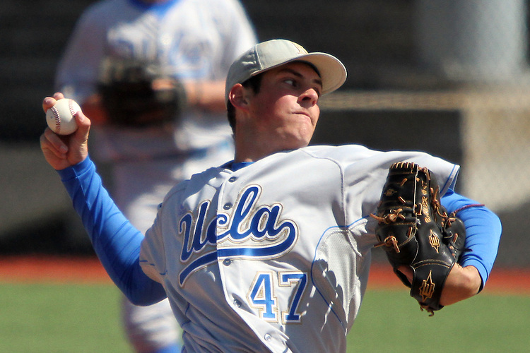 Trevor Bauer, one of the top pitching prospects in the country, fires to the plate during the Bruins Pac-10 conference baseball game against Washington State at Bailey-Brayton Field in Pullman, Washington, on April 9, 2011.  Bauer pitched a complete game in the 10-3 UCLA victory, giving up six hits, striking out 15, while running his season record to 6-1.