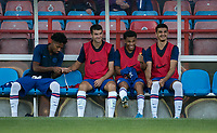 Chelsea subs bench (l-r) Marcel Lavinier, Jack Wakely, Marcel Lewis & Armando Broja during the Premier League 2 match between Chelsea U23 and Tottenham Hotspur U23 at the Electrical Services Stadium, Aldershot, England on 30 August 2019. Photo by Andy Rowland.