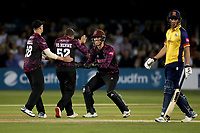 Roelof van der Merwe celebrates with his team mates after taking the wicket of Adam Wheater during Essex Eagles vs Somerset, Vitality Blast T20 Cricket at The Cloudfm County Ground on 7th August 2019