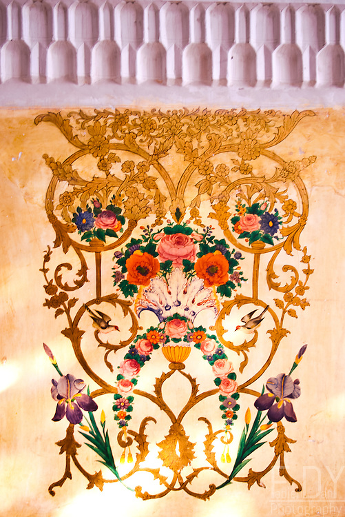 Painted decor in a 19th century iranian historic house. Khoy, Iran.