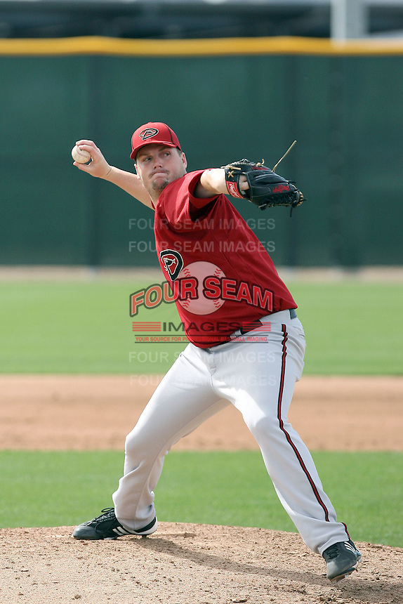Kyler Newby #43 of the Arizona Diamondbacks plays in a minor league spring training game against the Cincinnati Reds at the Diamondbacks minor league complex on March 15, 2011  in Scottsdale, Arizona. .Photo by:  Bill Mitchell/Four Seam Images.