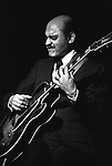 Joe Pass, Berkeley Jazz Festival, May 23, 1980. American Jazz guitarist jazz guitarist whose extensive use of walking basslines, melodic counterpoint during improvisation, use of a chord-melody style of play and outstanding knowledge of chord progressions opened up new possibilities for jazz guitar and had a profound influence on future guitarists.