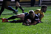 TRY - Luke Hibberd of London Scottish scores during the Championship Cup match between London Scottish Football Club and Yorkshire Carnegie at Richmond Athletic Ground, Richmond, United Kingdom on 4 October 2019. Photo by Carlton Myrie / PRiME Media Images