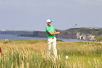 Colin Fairweather (IRL) on the 15th tee during the Afternoon Singles between Ireland and Wales at the Home Internationals at Royal Portrush Golf Club on Thursday 13th August 2015.<br /> Picture:  Thos Caffrey / www.golffile.ie